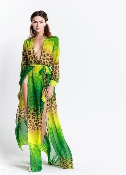 Leopard Green Dress