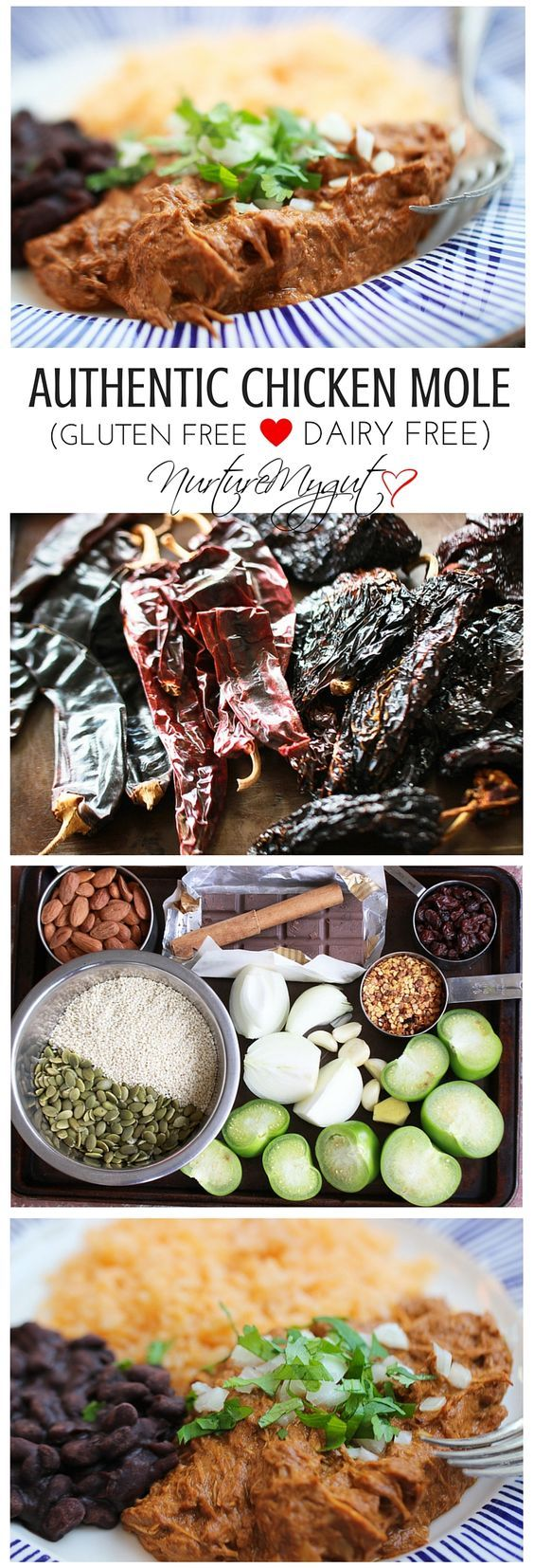 Authentic Chicken Mole Recipe.  Step by step tutorial for making Authentic Mexican Chicken Mole.  This recipe is bursting with flavor, has a hint of chocolate and mild heat.  This Authentic Chicken Mole recipe is gluten free & dairy free.  Perfect for a special occasion.  It is the best Mole recipe you will ever try!: