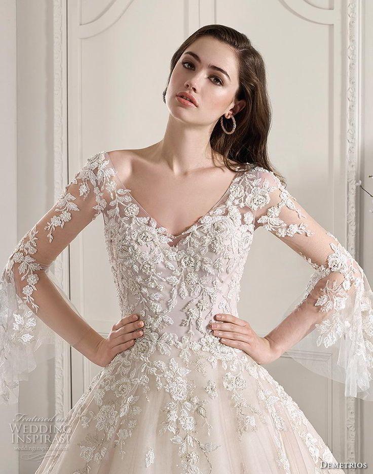 e6c23b31072 demetrios 2019 starlight bridal long lantern sleeve v-neckline strongly  adorned  bridal  demetrios  lantern  neckline  sleeve  starlight  strongly