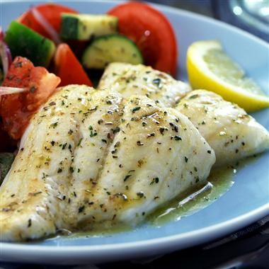 Garlic Herb Tilapia: Mild, flaky tilapia, seasoned with a savory herb butter and baked to perfection. (Try replacing butter with greek yogurt)