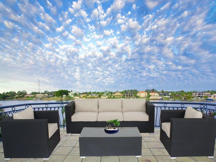 Black Brighton Balcony Outdoor Lounge Suite