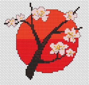 flor de cerejeira cruz livre padrão de ponto