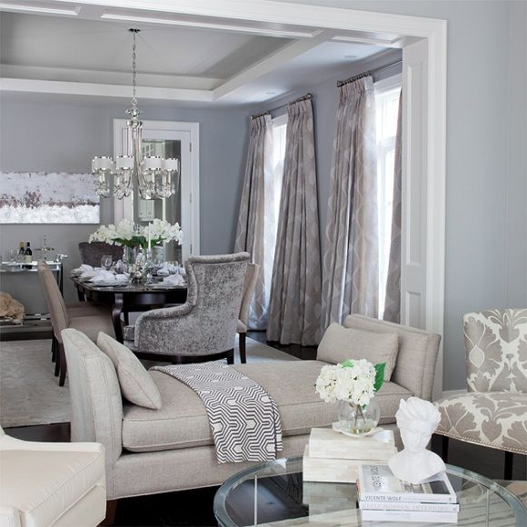 SallyL: Jennifer Brouwer Design - Pale gray/blue wall color. Nickel bar cart, velvet gray end ...