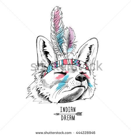 Fox portrait in a Indian Feather Headdress on white background. Vector illustration.