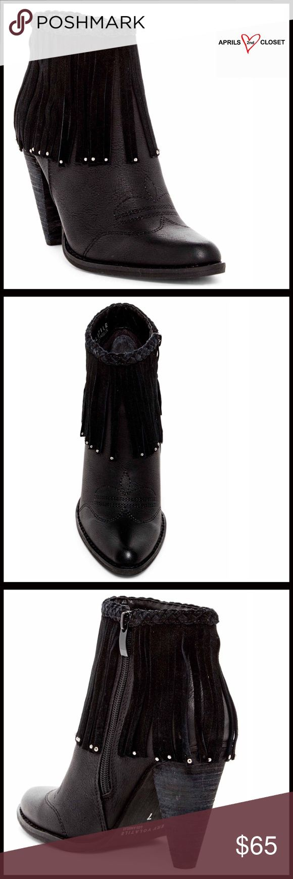 """FRINGE BOOTS Ankle Booties 💟NEW WITH TAGS💟 RETAIL PRICE: $85 FRINGE BOOTS Ankle Booties   * Almond toe  * Side zip closure  * Vegan faux leather construction  * Braided trim w/cascading fringe & toptitched detail   * Approx 4"""" high heels, 3 5/8"""" shaft & 11.5"""" opening  * True to size   Material: Leather & synthetic upper & textile sole Color: Black ITEM#   🚫No Trades🚫 ✅ Offers Considered*✅ Volatile Shoes Ankle Boots & Booties"""