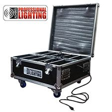 The Adkins Professional Lighting Up Light Charging Flight Case is the perfect solution for safely transporting and charging your LED wireless battery light fixtures. This durable, rolling road case easily handles all the punishment a mobile entertainer can throw at it. When the gig is over, simply connect the fixtures to the internal charging module and use the external plug to connect directly into standard wall voltage.