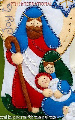 "Bucilla alegria para o mundo ~ 16"" meia de Natal feltro Kit #86482 Natividade cena"