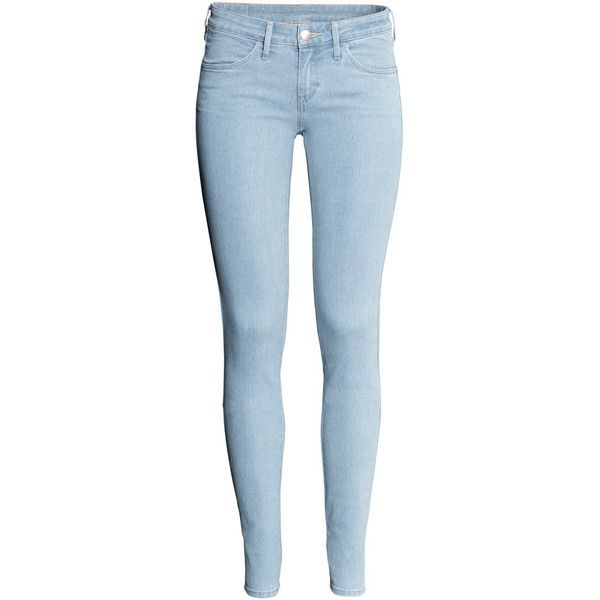 H&M Skinny Low Jeans (€14) ❤ liked on Polyvore featuring jeans, pants, bottoms, calças, pantalones, super skinny jeans, skinny fit jeans, blue jeans, slim leg jeans and skinny jeans