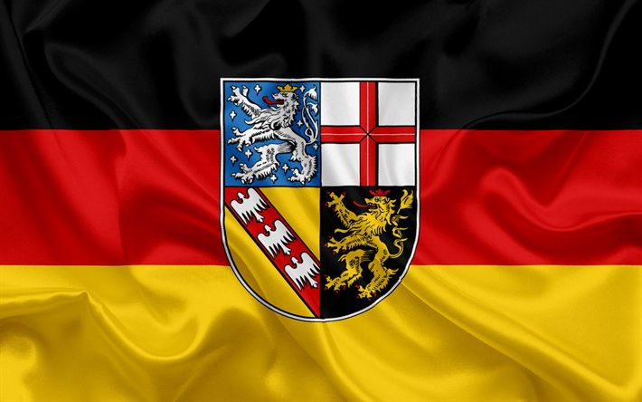 Download wallpapers Flag of Saarland, Land of Germany, flags of German Lands, Saarland, States of Germany, silk flag, Federal Republic of Germany