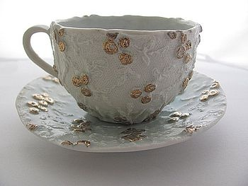 Princess Cup & Saucer - Edwardian Lace with Blue Glaze & Gold Lustre Highlighted Rosebuds - The Prettiest Cup & Saucer! £35.00