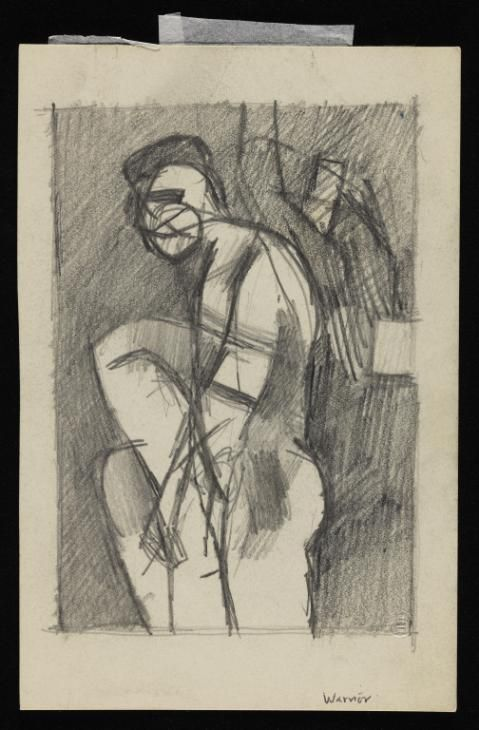 Keith Vaughan 'Drawing entitled 'Warrior'', [1960] © The estate of Keith Vaughan