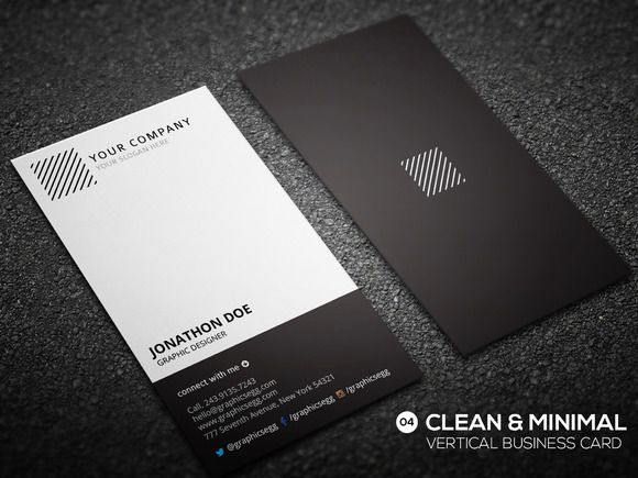 Clean minimal vertical business card by Graphicsegg on Creative Market