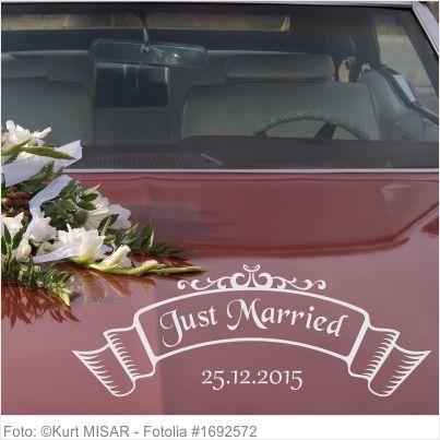 Autoaufkleber Hochzeit - Just Married Banner mit Hochzeitsdatum
