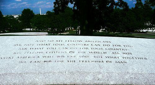 Remembering JFK - 50 Years  Inaugural Address inscription Elliptical Plaza President John F. Kennedy Gravesite Arlington National Cemetery, Virginia. #JFK #JFK50 #Kennedy