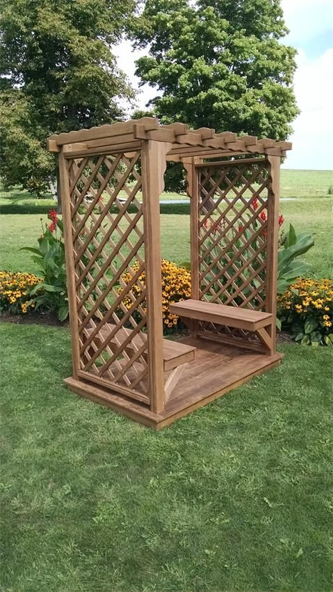 Pine Covington American Garden Arbor with Deck and Benches