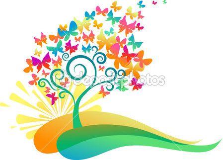 Alba albero farfalle — Illustrazione stock #3165648