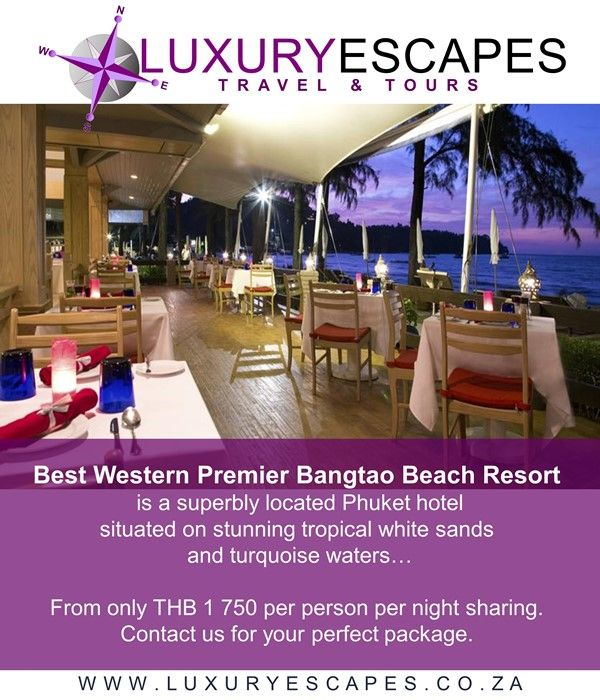 Best Western Premier Bangtao Beach Resort is a superbly located Phuket hotel situated on stunning tropical white sands with the turquoise waters of the Andaman Sea inviting you in for a refreshing dip. From only THB 1 750 per person per night sharing. For your perfect package, contact us today! www.luxuryescapes.co.za