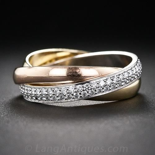 Estate Cartier 18K Tri-Color Gold Trinity Rolling Ring with Diamonds