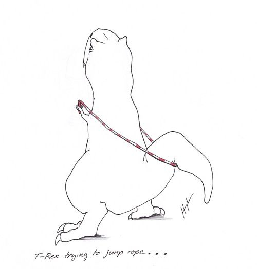 T-Rex trying to jump rope...