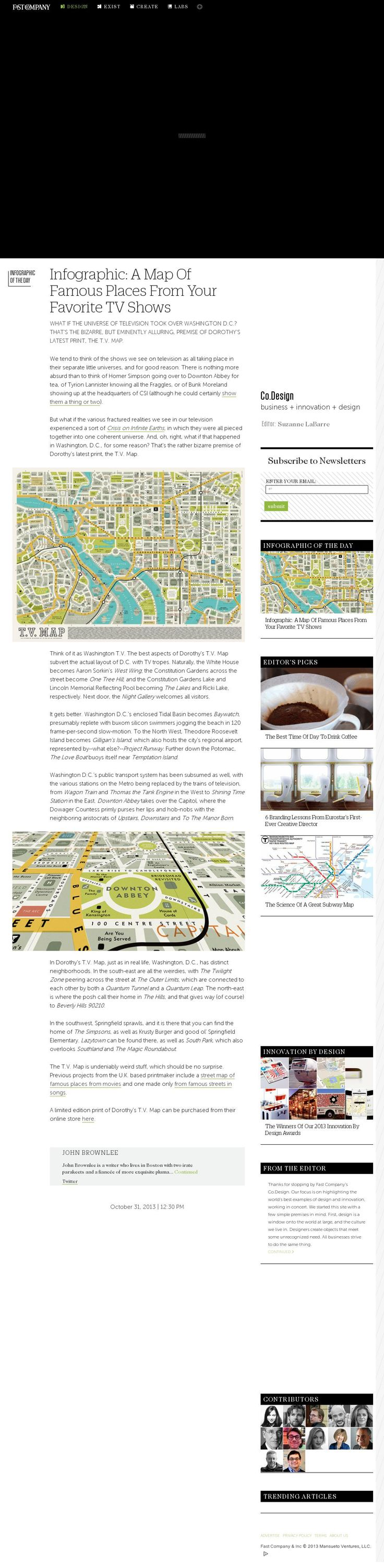 The website 'http://www.fastcodesign.com/3020941/infographic-of-the-day/infographic-a-map-of-famous-places-in-all-your-favorite-tv-shows' courtesy of @Pinstamatic (http://pinstamatic.com)