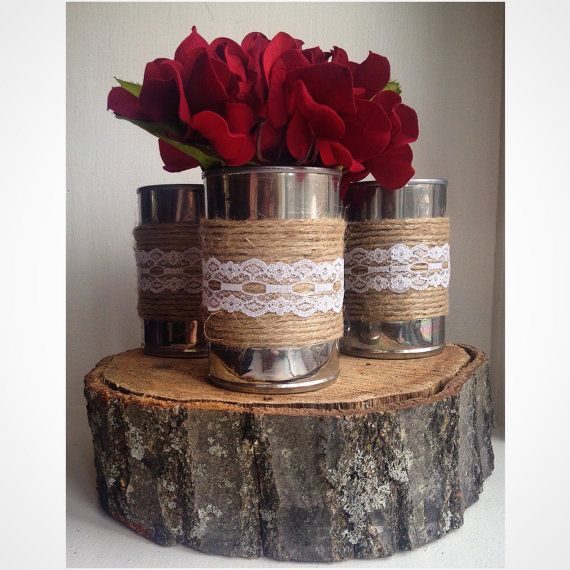Set of 3 Shabby Chic Tin Can Centerpiece by ReconditionaILove