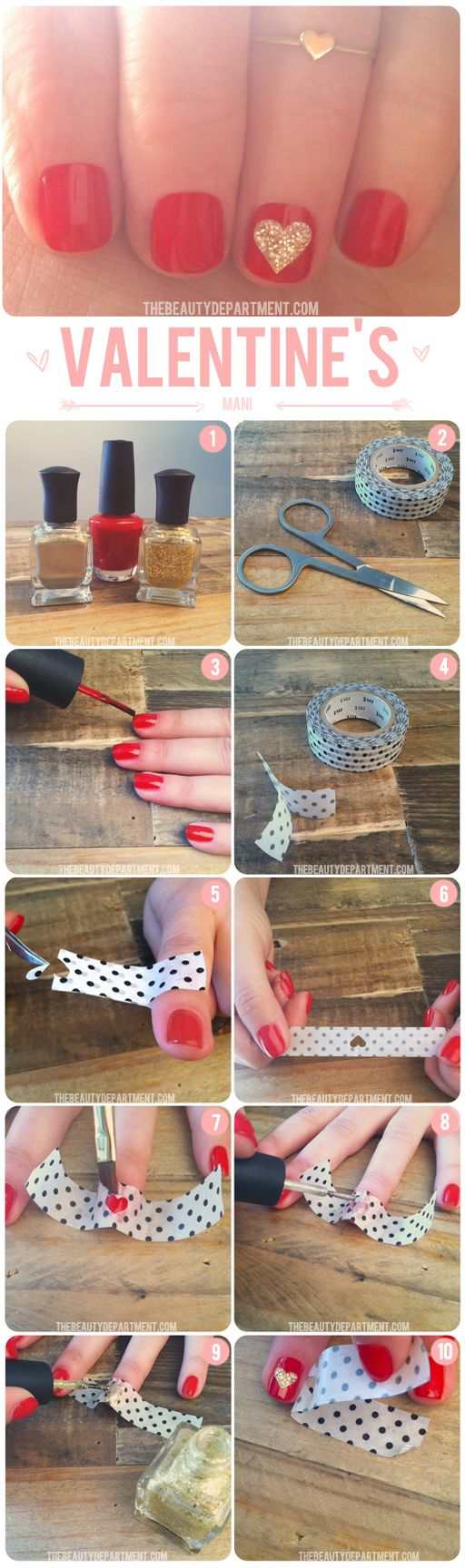 Pinned by www.SimpleNailArtTips.com VALENTINE NAIL ART DESIGN IDEAS - TAPING - Using scotch tape to make a heart stencil.