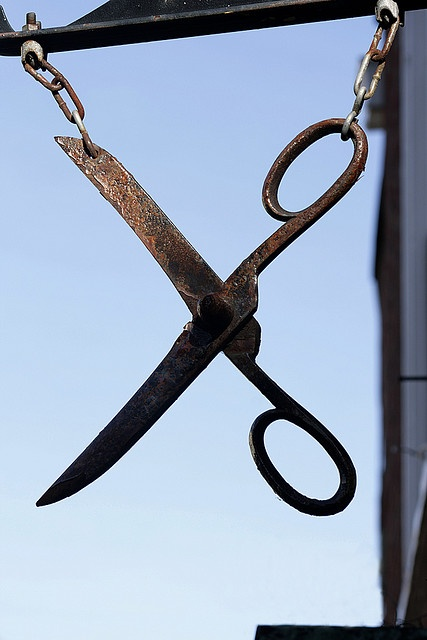Rusty scissors Sign by Lee Harper Photography