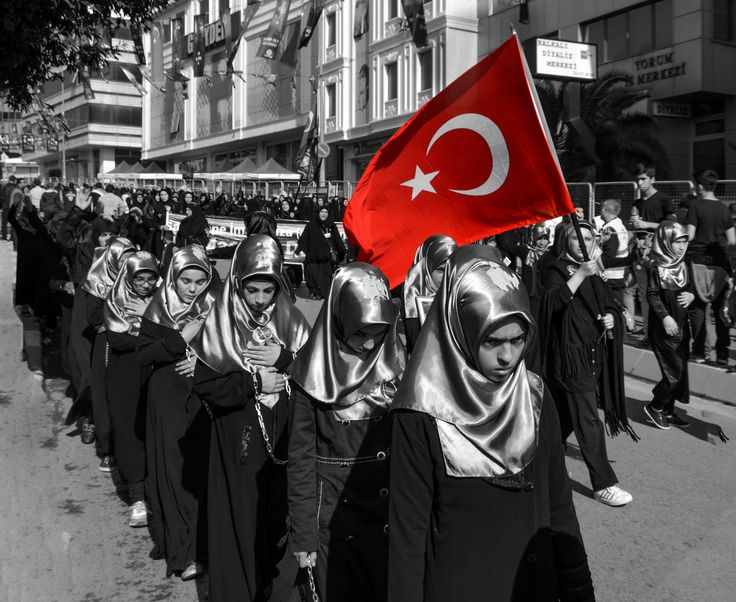 Day of Ashura Mourning ceremony in Turkey. - Istanbul, Turkey - October 11, 2016: Day of Ashura Mourning ceremony in Turkey. Caferis take part in a mourning procession marking the day of Ashura in Istanbul's Halkali region, Turkey on October 11, 2016. Caferi Muslims are observing the Ashura, the tenth day of the first Islamic month of Muharram, to commemorate the martyrdom of Imam Hussein, a grandson of the Prophet Mohammed, in the Iraqi city of Karbala in the seventh century.