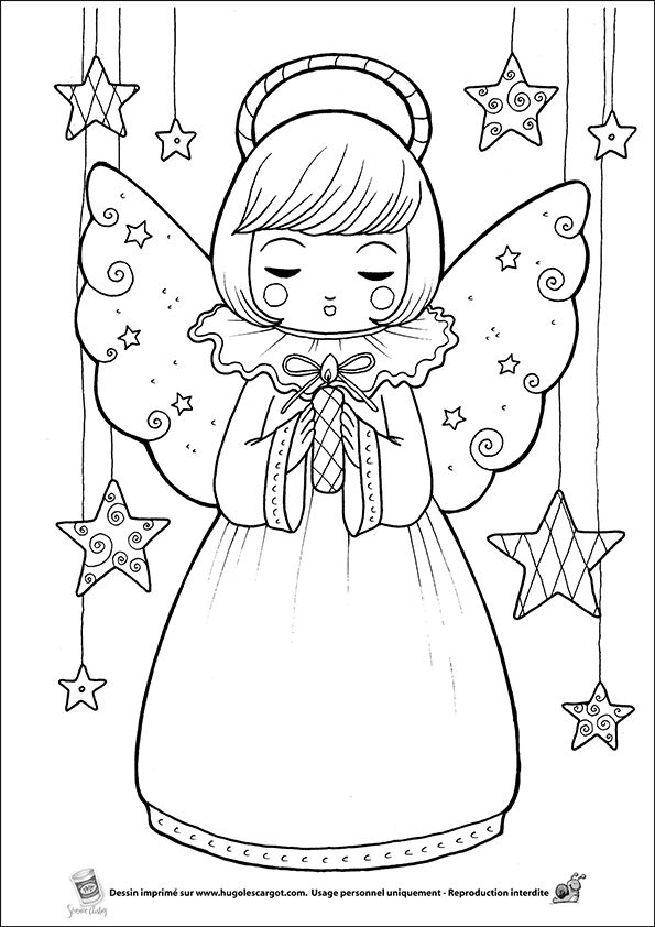 Coloriage ange sur Hugolescargot.com - Hugolescargot.com