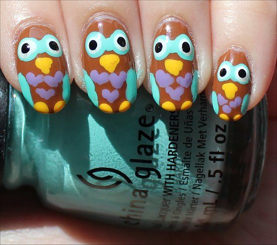 Owl Nail Art (Click through to see my step-by-step tutorial and more swatches!)