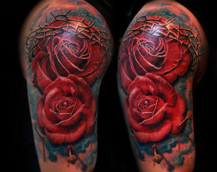 Tattoo nails tattoo realistic 3d roses realistic tattoo for Rose with thorns tattoo