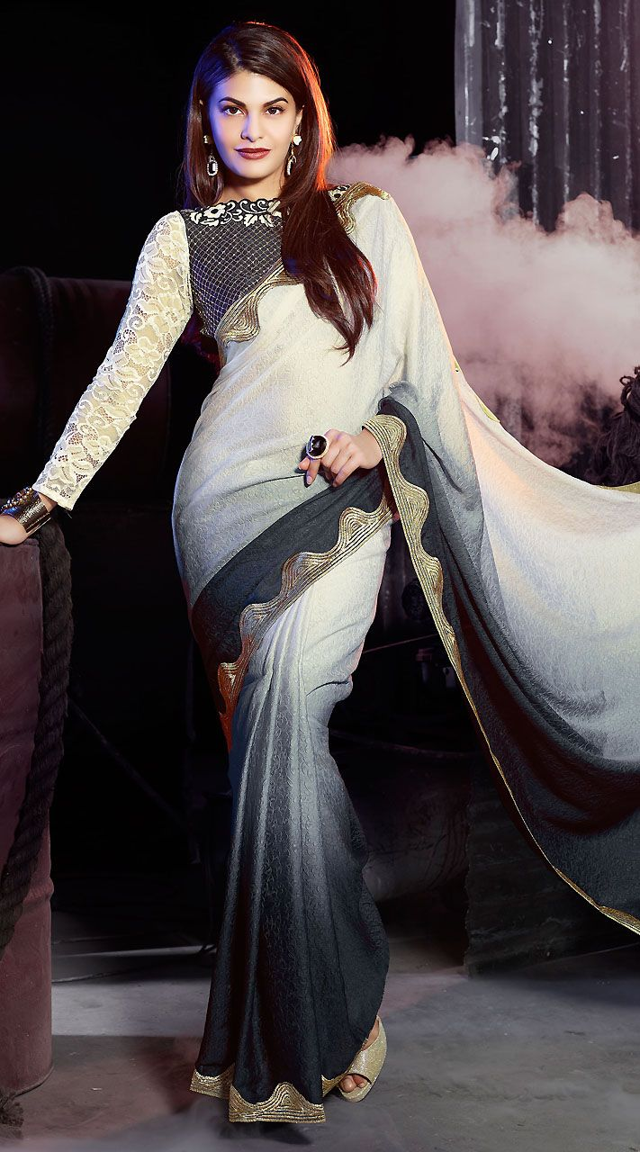 White Jacquard Jacqueline Fernandez Bollywood Saree