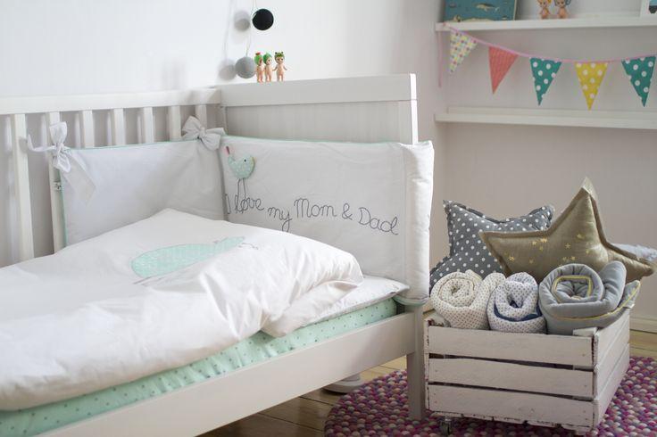 Sikory mięta / pościel i ochraniacz do łóżeczka dziecięcego