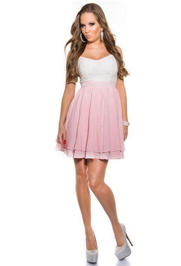 Zwiewna sukienka z cekinami w biało - różowym kolorze. Więcej na: http://zeltros.pl/pl/23-sukienki