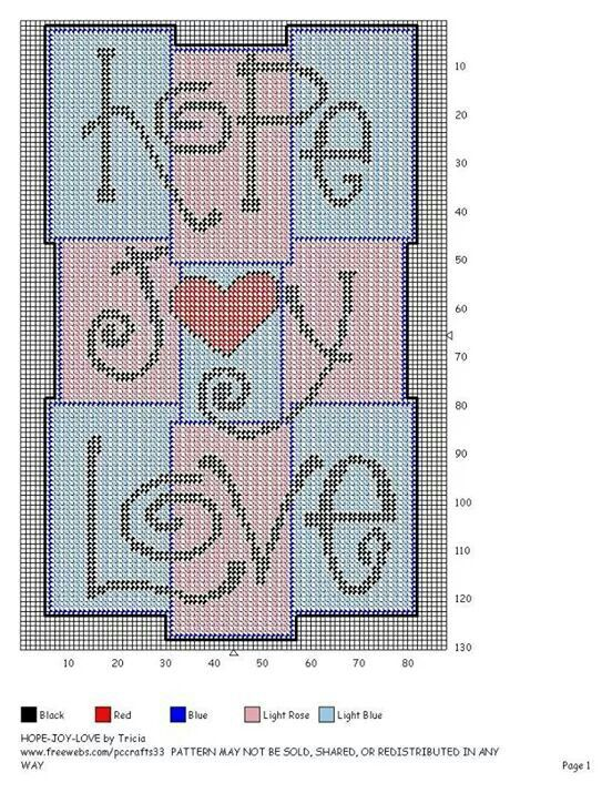 HOPE * JOY * LOVE by TRICIA -- WALL HANGING