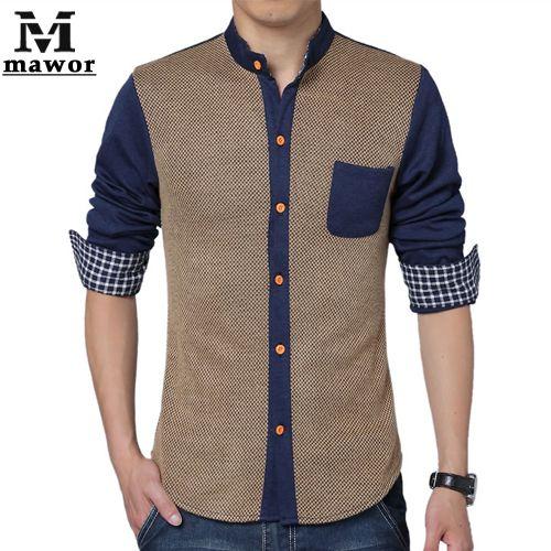 Barato Novo 2015 em estilo europeu camisa dos homens de alta qualidade Patchwork Casual camisa Slim Fit manga comprida Camisas Hombre Plus Size 5XL MC164, Compro Qualidade Camisas Casuais diretamente de fornecedores da China:              Free Shipping 2015 New Men's T Shir