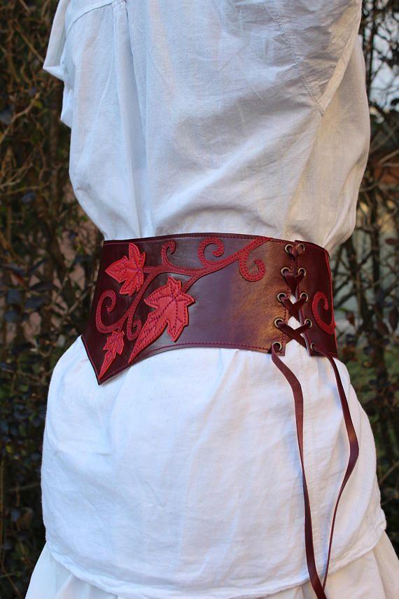 4165be737805 serre taille   ceinture large cuir   ceinture cuir   ceinture médiévale    ceinture elfique