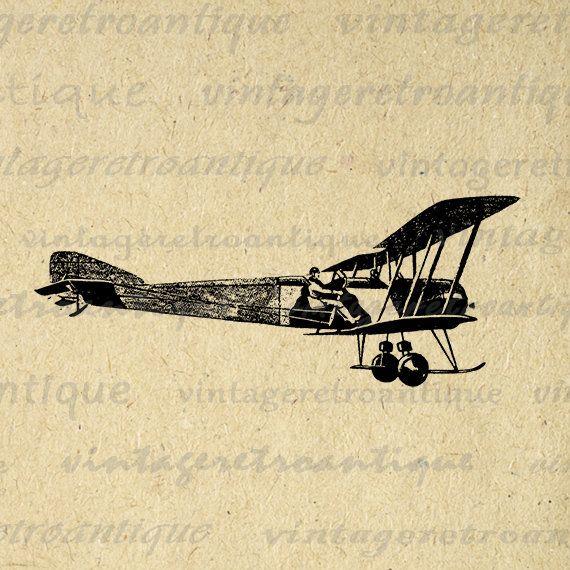 Plane and Pilot Digital Printable Download Antique Airplane