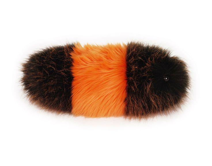 Wooly Bear Orange and Black Fuzzy Caterpillar Stuffed Toy Snuggle Worm Plushie. $33.00, via Etsy.