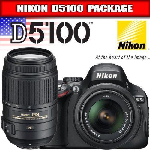 "Nikon D5100 Digital SLR Camera & 18-55mm G VR DX AF-S & 55-300mm VR Zoom Lens. 16.2 MP DX-Format CMOS Sensor. Built-In Speedlight Flash With i-TTL. 3.0"" Vari-Angle 921K Resolution LCD. ISO Sensitivity 100-6400. In-Camera HDR (High Dynamic Range). Fast 11-Point Autofocus System. 1080p HD Movies w/Full Time Autofocus. Nikkor 18-55mm f/3.5-5.6G VR Lens. 35mm Equivalent: 27-82.5mm Lens. In-Camera Special Effects Mode."