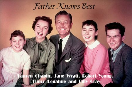 Father Knows Best (1954-1960).  Left to Right:  Lauren Chapin, Jane Wyatt, Robert Young, Eleanor Donahue and Billy Gray.