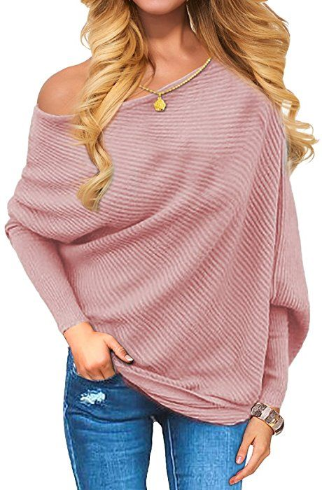 VOIANLIMO Women s Off Shoulder Knit Jumper Long Sleeve Pullover Baggy Solid  Sweater (Large 7d966a656