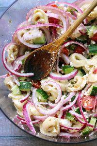 mediterranean tortellini salad with red wine vinaigrette