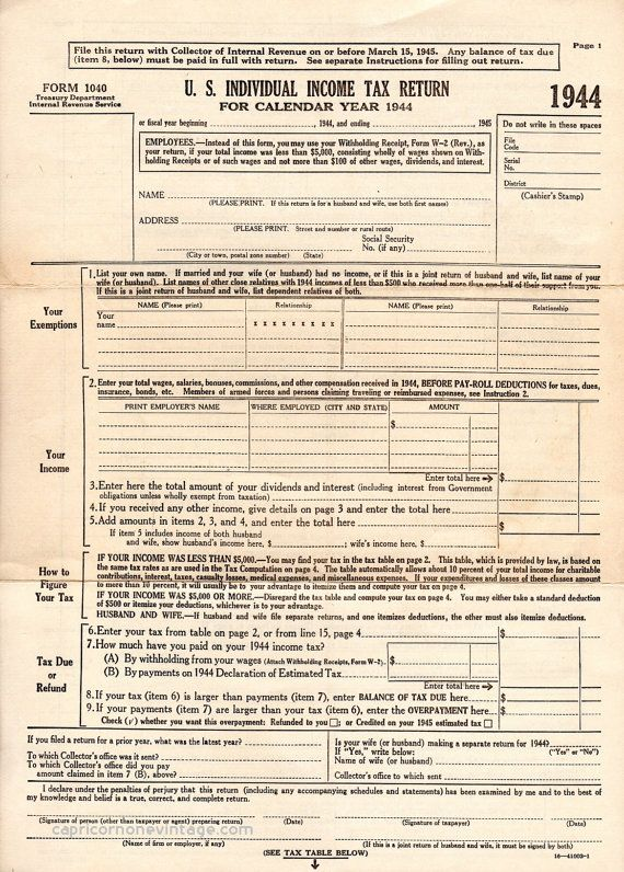 Vintage 1944 Income Tax Form 1040 Blank by CapricornOneEphemera - printable tax form