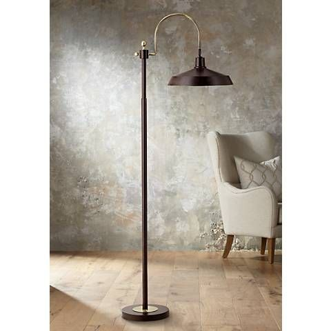 Nate bronze industrial downbridge floor lamp 5y401 lamps plus