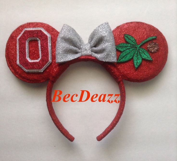 Ohio State University Buckeyes Minnie Mouse ears headband