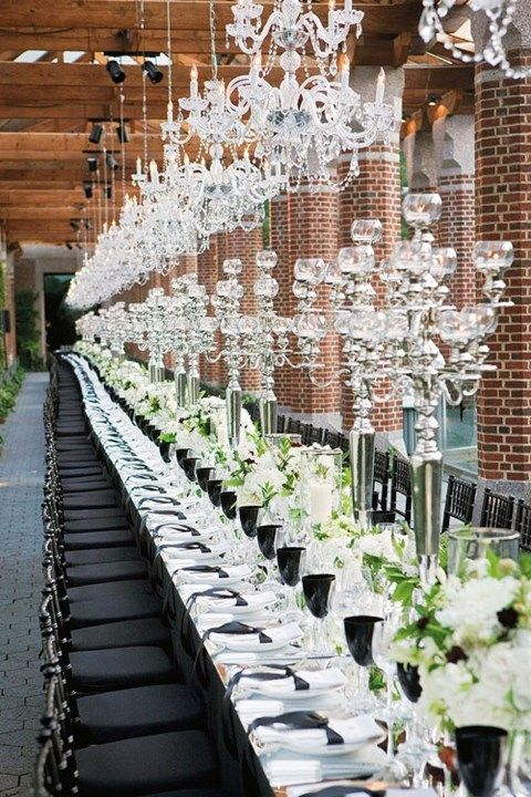 58 Elegant Black And White Wedding Table Settings | HappyWedd.com : images of wedding table settings - pezcame.com