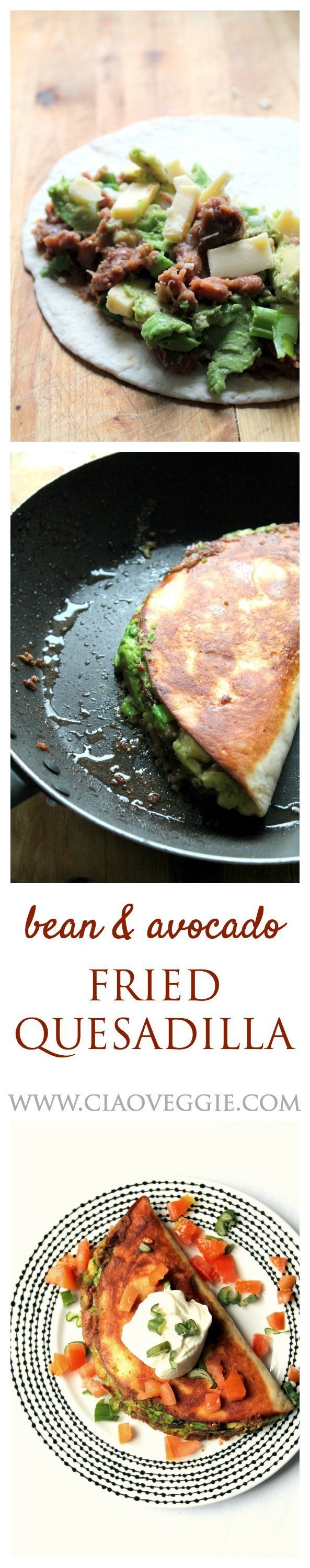 This addictive vegetarian quesadilla is packed with home made refried beans, avocados and cheese. Perfect easy mid-week meal.