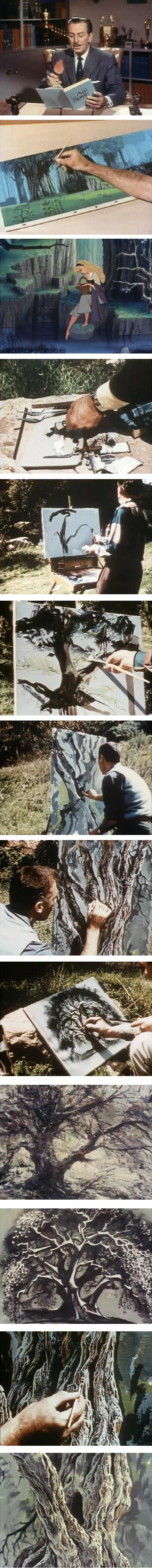 Classic Disney animators paint a tree: Marc Davis, Eyvind Earle, Joshua Meador and Walt Peregoy. So happy to run across this. I first saw this segment when I was a kid and it was instrumental in teaching me that a subject may be interpreted in different and perfectly legitimate ways - not everyone sees the same thing in the same way. A real eye-opener for a fledgling artist.