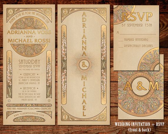 Wedding Invitation Suite | Gold Art Nouveau Art Deco | 2-piece | Printable Digital Files OR Printed & Delivered Wedding Invitation Set